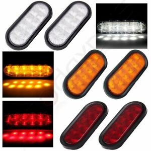 3pairs Of 10led 6 White Reverse Amber Turn Red Stop Tail Lights Sealed Kits