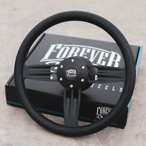 14 Matte Black Steering Wheel With Black Vinyl Half Wrap And Billet Horn Button