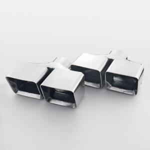 Double Wall Square Rectangle Staggered Exhaust Tip Polished 2 5 In 6 5 L 8 W
