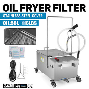 58l Fryer Oil Filter Machine Commercial Oil Filtration System W Stainless Lid