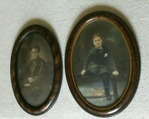 Instant Ancestors In Oval Curved Glass Wooden Frames