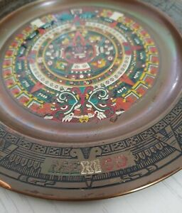 Vintage Brass Hanging Enamel Decrative Dish From Mexico