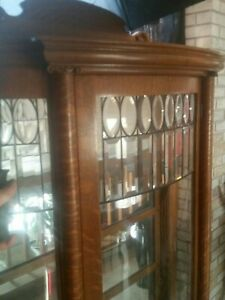 Antique Tiger Oak Curio Cabinet Curved Glass Mirrored Back Claw Feet W Key Rare