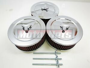 3x Chrome Triple Air Cleaner Kit Washable 6 3 8 Round 4 Barrel Carb Scoop Rod
