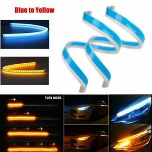 2x 60cm Slim Led Turn Strip Signal Lights Car Running Sequential Flow Headlight