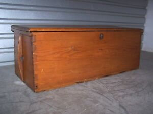 Vintage Sea Chest Large Wood Trunk Dovetails
