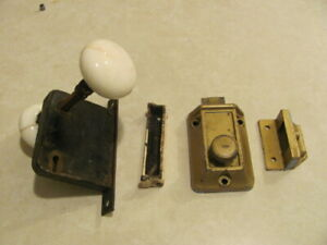 Antique Vintage Lot Of Door Hardware Porcelain Knob Lockset Yale Deadbolt