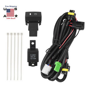 Fog Light Wiring Harness Switch Relay Kit H11 H8 H9 40a For Honda Toyota Ford Us