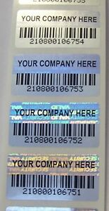 500 Svag Personalized Customized Barcode Hologram Security Labels 75 X 1 5