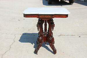 Fancy Ornate Walnut Victorian Shaped Marble Top Parlor Table Ca 1870