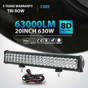 Tri row 20 Inch 630w Led Work Light Bar Combo Offroad Truck Boat Ute Atv Utv 23