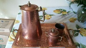 Hand Hammered Copper Brass Coffee Pot Set Colonial Virginia