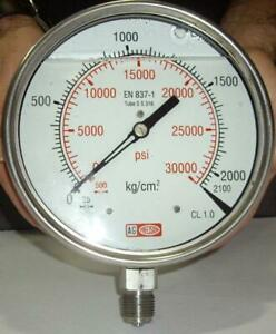 High Pressure Gauge Dual Scale 0 2000 Bar 0 30000 Psi Ideal For Common Rail hp