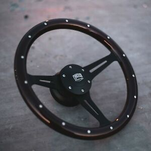 14 Matte Black Steering Wheel With A Riveted Dark Mahogany Grip And Horn