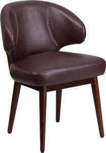 Comfort Back Design Burgundy Leather Side Reception Chair Waiting Room Chair