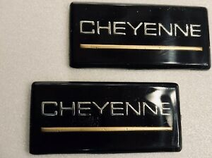 88 98 Chevrolet Cheyenne 2pc Roof Pillar Cab Emblem Badge Nameplate Side New