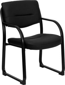 Heavy Duty Black Leather Reception Office Side Chair Waiting Room Chair
