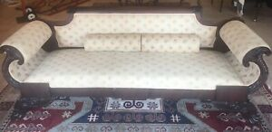 Antique Victorian Regency Empire Paw Foot Sofa Settee Couch Mahogany 1800 S