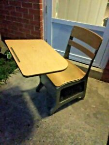 Vintage Childs Student Metal Elementary School Desk Chair