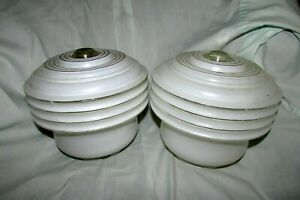 Vintage Pair Of Art Deco Frosted Glass Schoolhouse Ceiling Light Fixture Shades