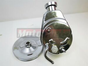 Bbc Sbc Chevy Chrome Saginaw Style Power Steering Pump W Single Groove Pulley