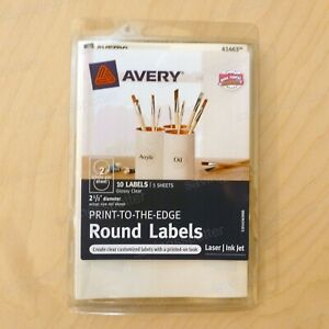 10 Ct Avery Clear Round Labels 2 1 2 Print To Edge Laser inkjet