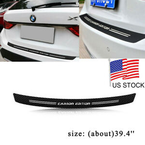 For Bmw Jdm Carbon Fiber Trunk Sill Plate Rear Bumper Protector Guard Trim Cover