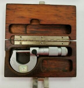 Vintage Brown Sharpe 10ths 0 1 13 Micrometer In Wooden Case Carbide Nr