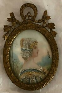 Antique Hand Painted Miniature Portrait In Victorian Frame Signed By Daisy