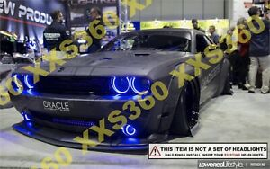 Oracle Hid Pro Head Foglight Halo Rings For Dodge Challenger 08 14 Blue Led