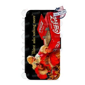 Santa Christmas Coca-Cola Wallet Flip Phone Case Cover For iPhone Samsung etc
