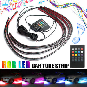 4pcs Rgb Led Strip Under Car Tube Underglow Underbody Neon Light Kit 12v Remote