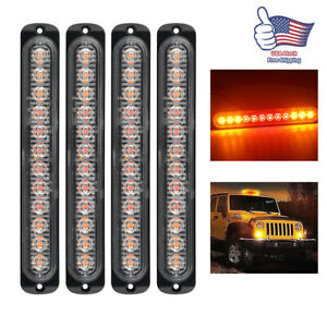 4pcs 12led Amber Red Strobe Light Truck Hazard Beacon Flash Warn Emergency 12v