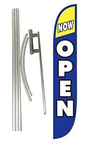 Now Open Outdoor Business Feather Flag Sign Kit Banner Advertising 15 Ft No Wind