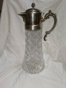 Vintage Glass Crystal Carafe Pitcher Decanter Silver Plate Top