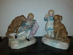 Pair Charming German Bisque Porcelain Dog Figurines Victorian Large