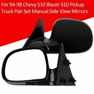 For 94 98 Chevy S10 Blazer S10 Pickup Truck Pair Set Manual Side View Mirrors