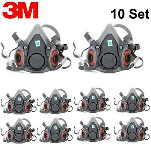 10set 3m 6200 Spraying Painting Dust Half Face Mask Respirator Facepiece Res M