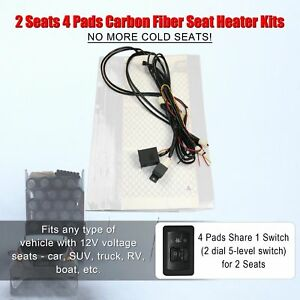 Universal Car Seat Heated 12v 5 level Switch Seat Heater Kit For 2 Seats 4 Pads