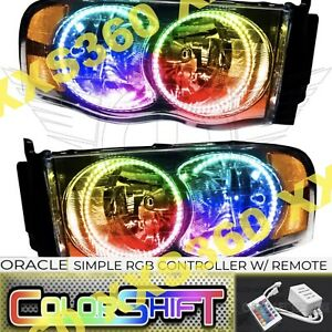 Oracle Halo 2x Headlights For Dodge Ram 02 05 Colorshift Led Simple W Remote
