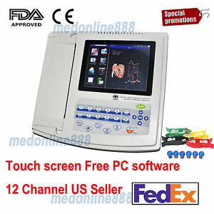 Contec Ecg1200g Digital 12 Channel Lead Ecg Electrocardiograph Pc Sync Software