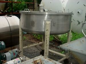 150 Gallon Sanitary Stainless Steel Tank Dished Bottom Hinged Lid