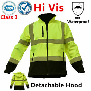 Hi Vis Ansi Class 3 Safety Waterproof Windbreaker Fleece Jacket Black Bottom