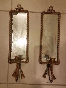 Vintage Antique Pair Of Decorative Brass Beveled Mirror Candle Holder 4 5x17 5