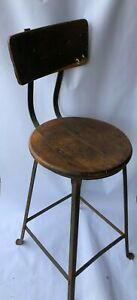 Vintage Industrial Factory Machine Age Wood Iron Drafting Stool Chair