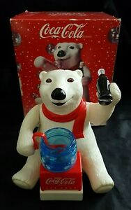 Coca Cola Bubble Blowing Polar Bear Animated Ornament Vintage Great Condition
