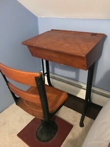 Vintage Childrens Wooden Country School Desk Chair Storage Hole For Ink Well