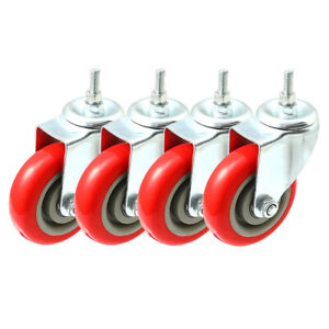Pack Of 4 Caster Wheels Swivel Plate On Red Polyurethane Wheels 4 With Stem