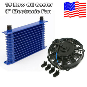 15row 6061 Aluminum Engine Transmission 10an Oil Cooler Cooling Electric Fan Kit