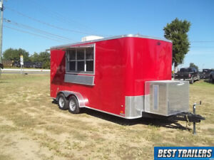 2019 Covered 7x16 Concession Vending Food Truck Trailer Sinks Power Ac Enclosed